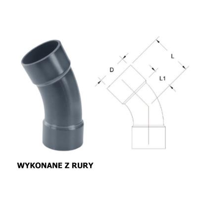 KOLANO 30° PVC-U (WYKONANY Z RURY)