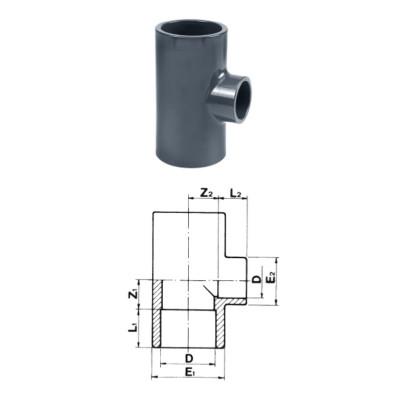 TRÓJNIK 90° VERLOPEND PVC-U